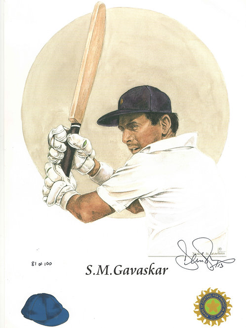 LOT 5 - Sunil Gavaskar hand signed limited edition photo print