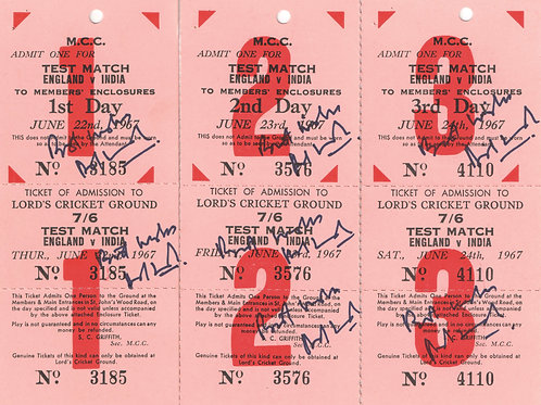 LOT 28 - Ajit Wadekar hand signed Lord's match tickets for 1967 England vs India