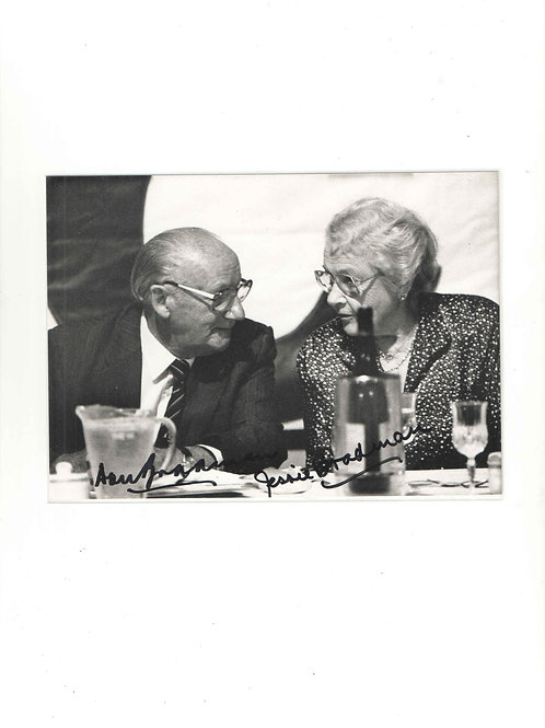 LOT 11 - Photograph of Sir Don Bradman with wife Jessie-Martha signed by both