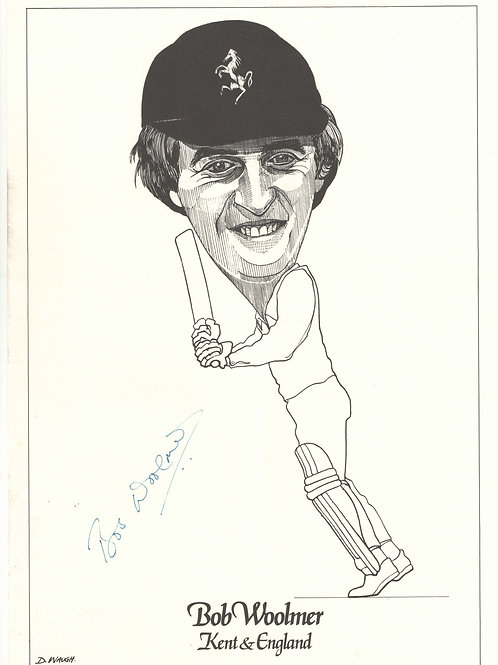 12 - Hand signed caricature of Bob Woolmer