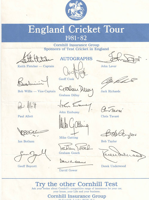 LOT 34 - England Cricket Tour 1981-82 signed Team Sheet