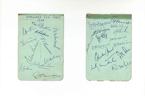 14 - 1952 India and England full team autographs