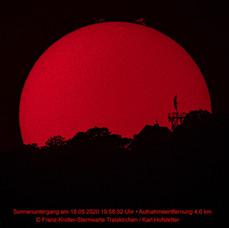 Sonnenuntergang am 18.05.2020 19:58:32 Uhr, Aufnahmeentfernung 4,6km Copyright Franz-Kroller-Sternwarte Traiskirchen / Karl Hofstetter