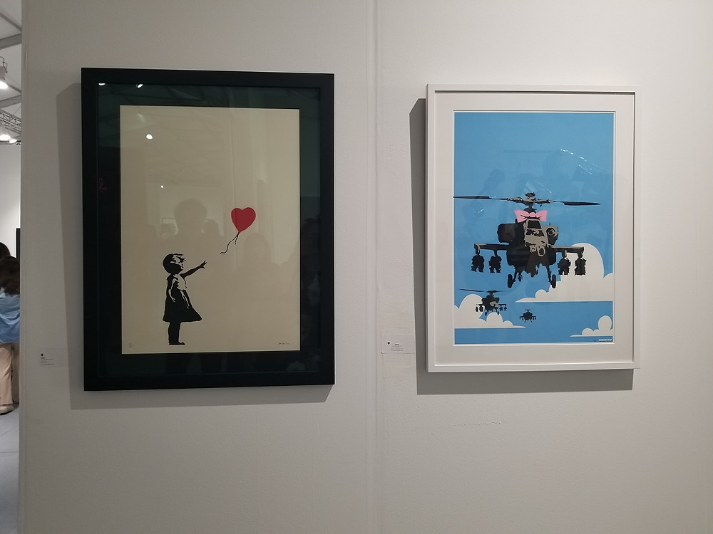 Sara O Connor With Banksy art in Miami Art Week
