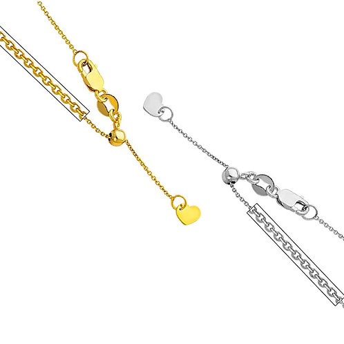14k Yellow or White Gold 0.9-mm Cable Chain Necklace