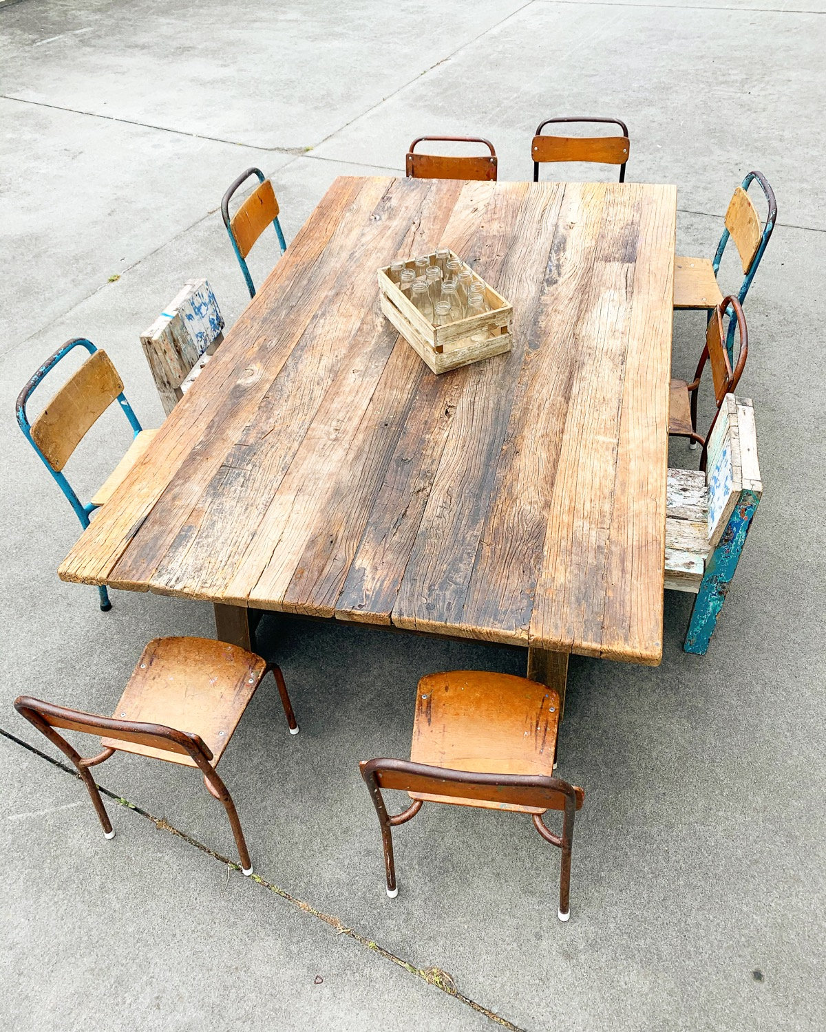 Large Dining Wooden Trestle Table low