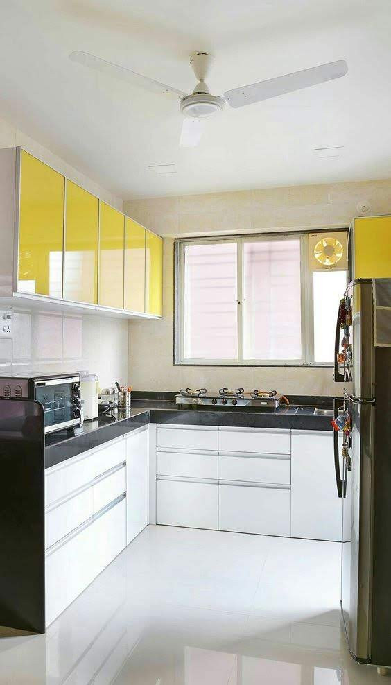 L-Shaped Modular Kitchen Citrus Mood