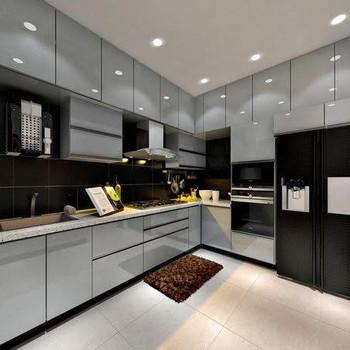 L Shaped Modular Kitchen Hazel Silver Ash