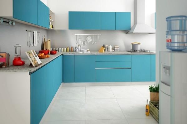 L-Shaped Modular Kitchen Sky Blue