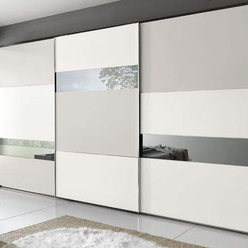 Straight Wardrobe Lacquered glass and Mirror