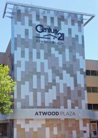 Atwood Plaza - Painted aluminum letters.