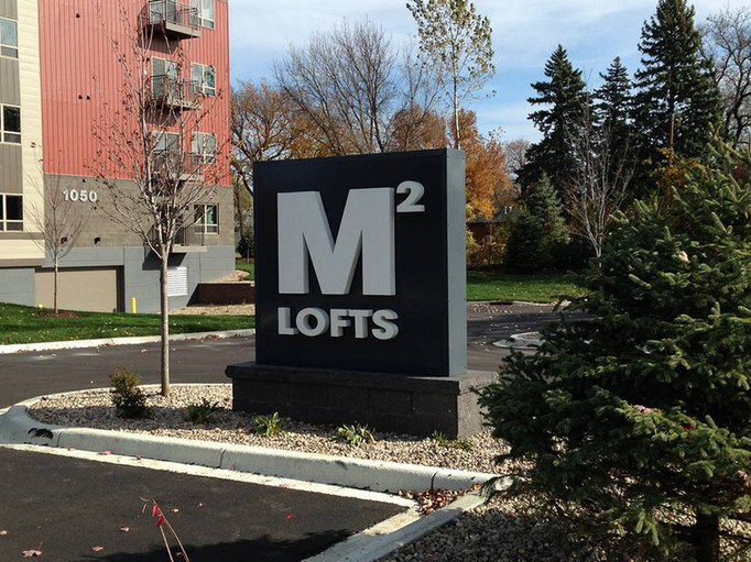 M2 Lofts - Aluminum address numbers and custom monument sign with reverse LED illuminated channel letters