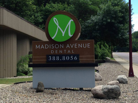 Madison Avenue Dental - Custom monument sign structure with reverse and front LED illumination
