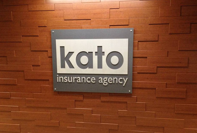 Kato Insurance - interior routed aluminum sign with standoffs mount