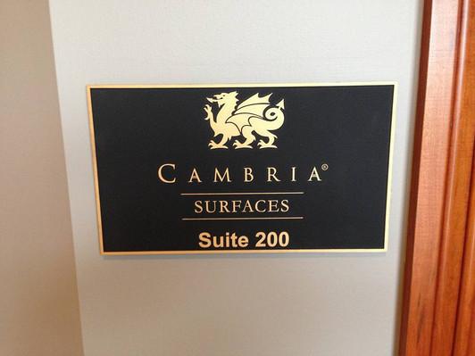 Cambria - Interior bronze tenant suite plaque
