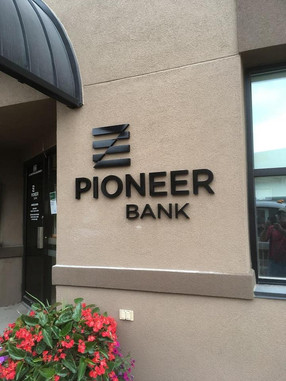 Pioneer Bank - custom cast painted aluminum letters and logo