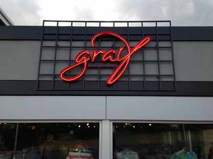 Graif - Custom open face neon illuminated channel letter