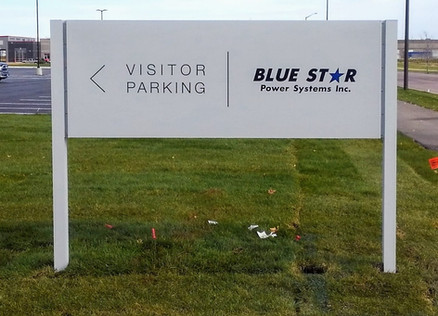 Blue Star - Painted aluminum post and panel directional sign
