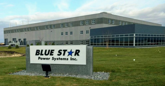 Blue Star - Custom monument sign cabinet with custom painted cast aluminum letters