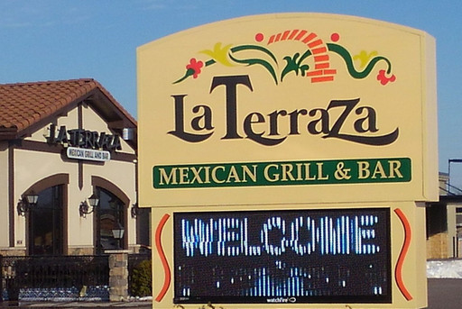 """La Terraza - Routed aluminum face with 3/4"""" push through acrylic letters with 3M day/night vinyl applied"""