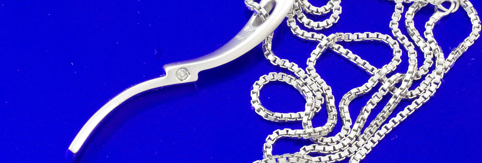 PPCOCOL26-0016 Colgante plata de 33 mm con diamante y cadena