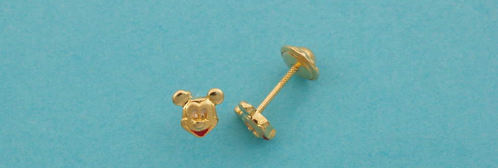 OAPEMIC35/32013 Pendientes Mickey Mouse 5,5 mm de oro de 18 qts