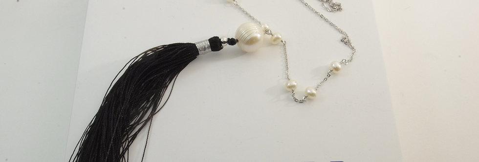 PPGAPIE5-32683 Collar plata con perlas naturales