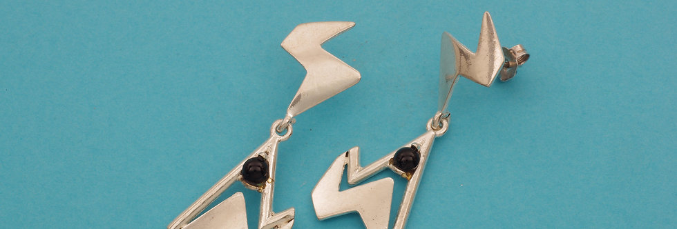PPPEART40-0034 Pendientes plata 42 x 15 mm, con onix