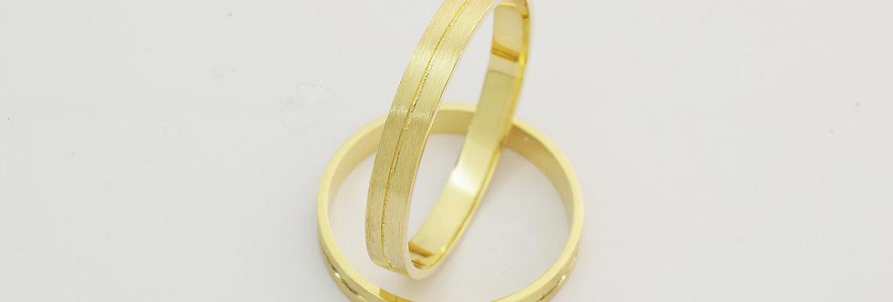 OA9AML1203-04 Pareja alianzas oro de 18 qts 3x0,7 mm