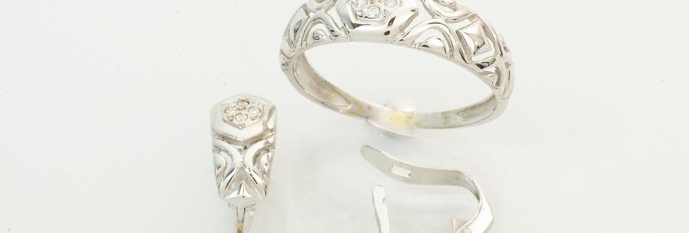 OBJUAS31-33360-61 Juego oro blanco de 18 qts, pendientes y sortija niña comunión