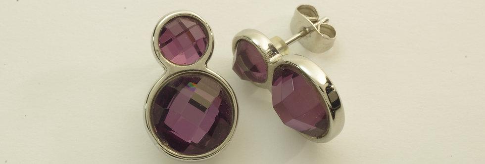MAPEPIE6-279 Pendientes acero con cristal amatista