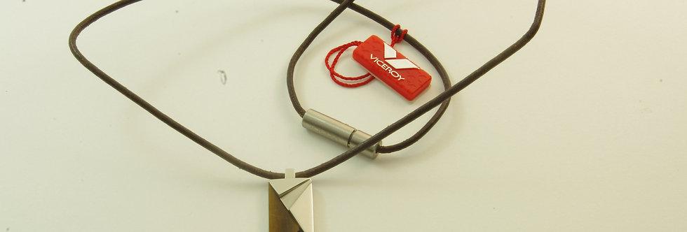 MAGACAB6-271Collar unisex acero y madera con cuero