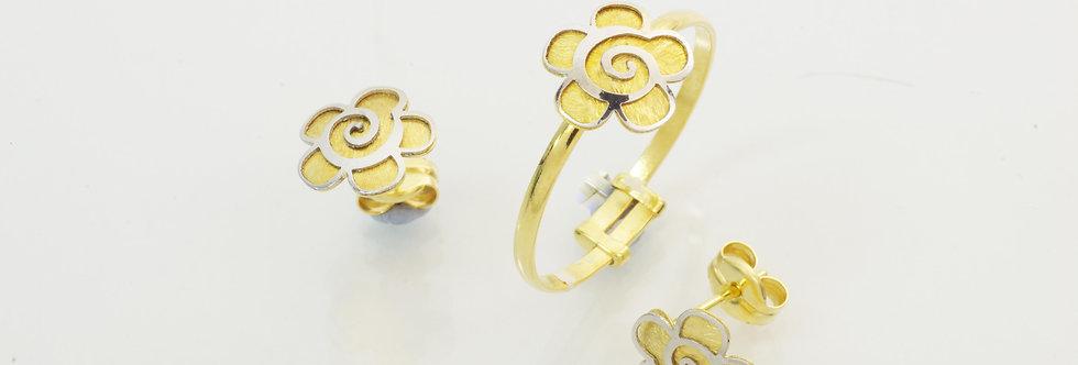 OAJUAS31-3423-24 Juego flor, oro de 18 qts, pendientes y sortija niña comunión