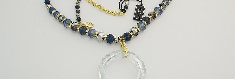 MDGASEÑ6-945 Collar metal dorado con cristal sintético