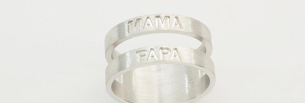 PPANNOM30-151 Anillo plata mama papa