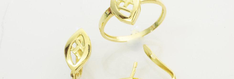 OAJUAS31-33378-79 Juego oro de 18 qts, pendientes y sortija niña comunión