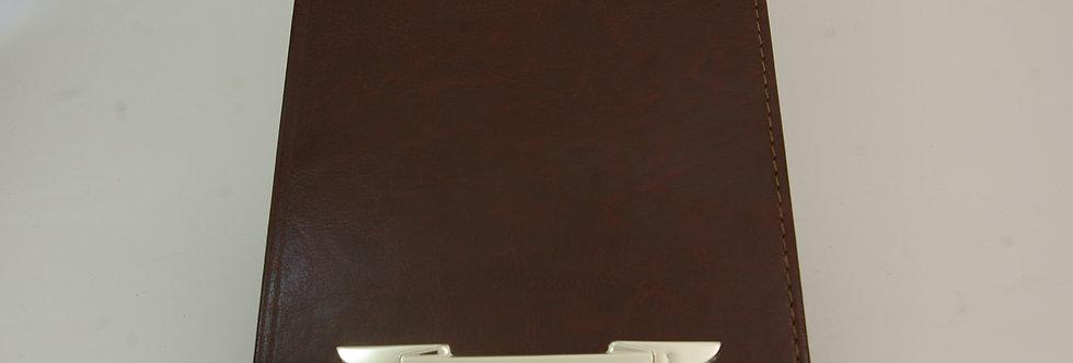 AGEN-PRXX32423 Agenda piel y plata de 21 x 15 cms