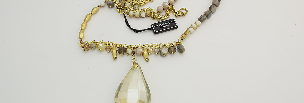 MDGASEÑ6-944 Collar metal dorado señora con cristal sintético