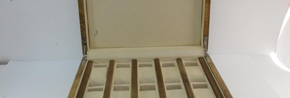 CAJA-PRXX0149 Caja de madera y plata para 10 relojes