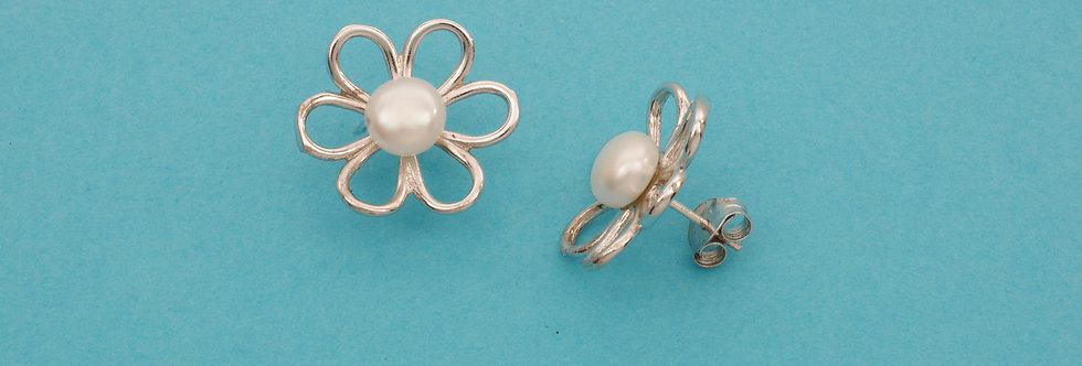 PPPEPERL40-3451 Pendientes plata 19 mm con perla natural