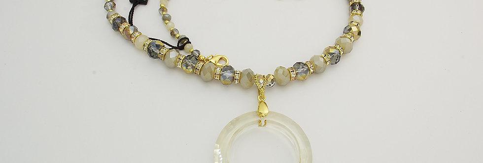 MDGASEÑ6-942 Collar metal dorado con cristal sintético