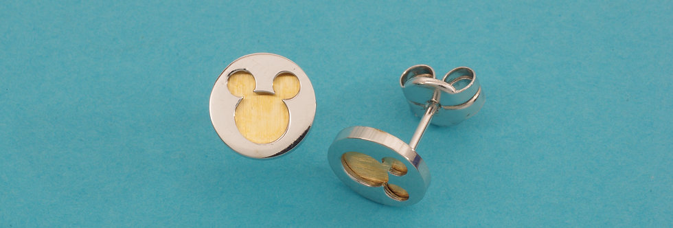 OAPEMIC35-32729 Pendientes Minnie Mouse 9 mm. Plata y oro de 18 qts
