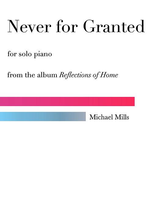 Never for Granted (PDF) Piano Solo