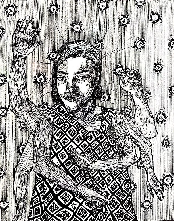 "Sogand Tabatabaei /Exhausted / Ink on paper/14.5""18""/ 2018"