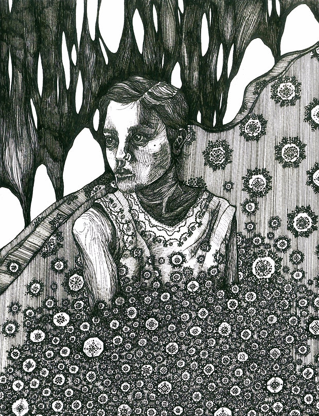 """Sogand Tabatabaei /Buried Alive / Ink on paper/14.5""""18""""/ 2018"""