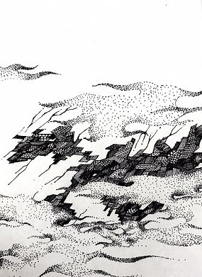 "Sogand Tabatabaei/ Landscape/ Ink on paper/ 4.5"" x 6.6""/ 2019"