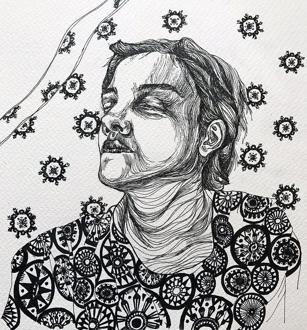 "Sogand Tabatabaei /A Coma / Ink on paper/14.5""18""/ 2018"