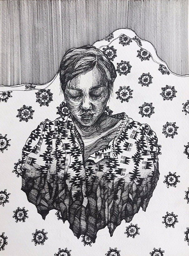 """Sogand Tabatabaei /I'm Home! / Ink on paper/14.5""""18""""/ 2018"""
