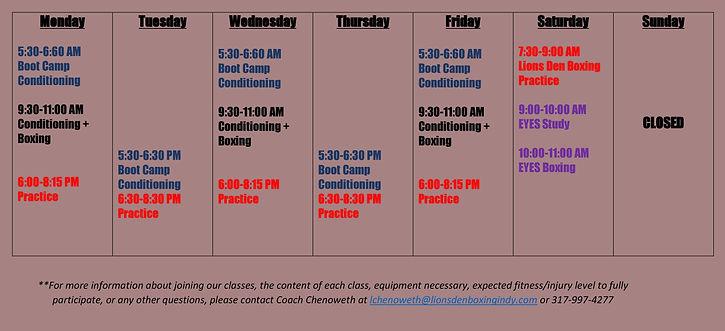 Lions Den Boxing Schedule