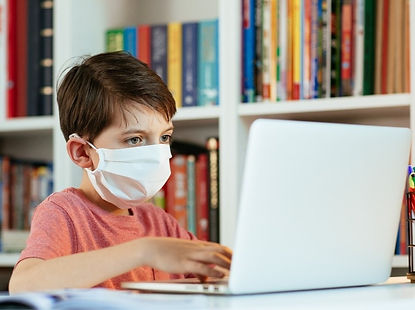 Child-Wearing-Face-Mask-Learning-Online-